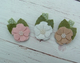Set of 3 Layla Felt Flower Hair Clip FREE SHIPPING On Additional Items