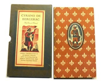 Cyrano De Bergerac Charming 1941 Illustrated Version of Classic Story.  Vintage Hardcover in Slipcase. First Edition by Peter Pauper Press.