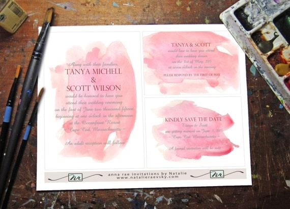Watercolor Wedding Invitation Template - Rose Quartz / printable / painted pink blush NRDIY-181519