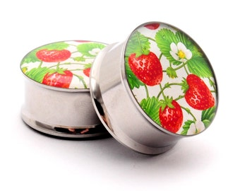 Strawberry Patch Picture Plugs gauges - 16g, 14g, 12g, 10g, 8g, 6g, 4g, 2g, 0g, 00g, 7/16, 1/2, 9/16, 5/8, 3/4, 7/8, 1 inch