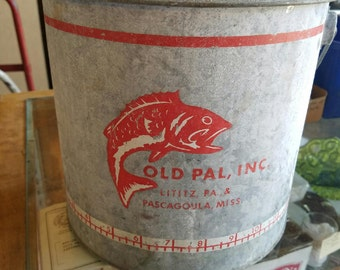 Vintage Fishing Minnow Bucket Rustic Camp Metal Galvanized Old Pal Fishing Bait Pail