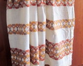 Vintage kitchen curtains runners panels towels upcycle decorating fabric textile wall art linen wall hangins orange beige tan burnt umber