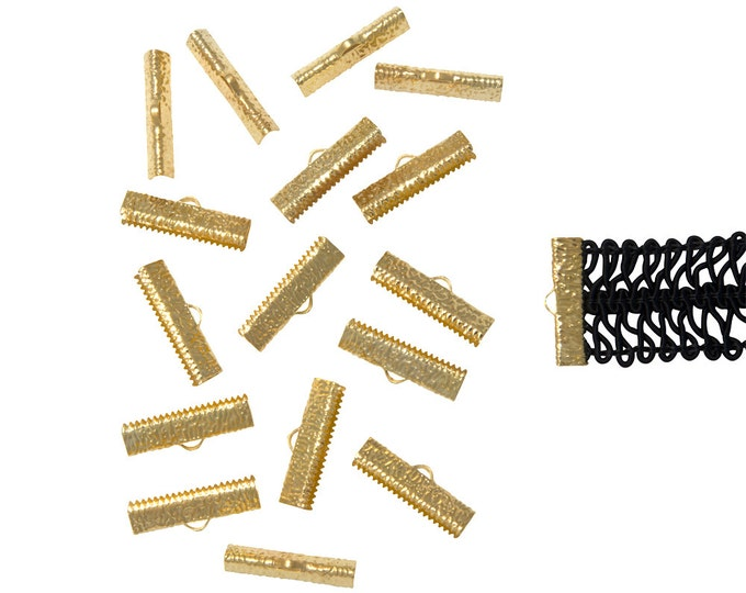 150pcs.  25mm  (1 inch)  Gold Ribbon Clamp End Crimps - Artisan Series