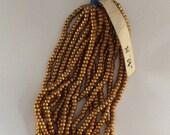 RARE - Antique Metal Round Micro Beads 8 - DARK GOLD - Partial Hank