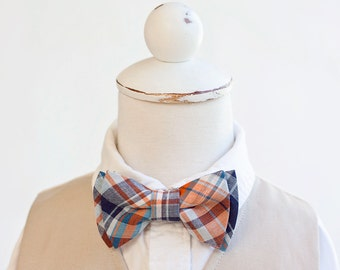 Bow Tie, Navy and Orange Organic Madras Plaid, Bow Ties, Boys Bow Ties, Baby Bow Ties, Bowtie, Bowties, Ring Bearer, Bow ties For Boys, Ties