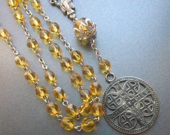 Rosary Y Lariat Necklace Citrine Beaded Vintage Religious Jewelry Handmade One of a Kind