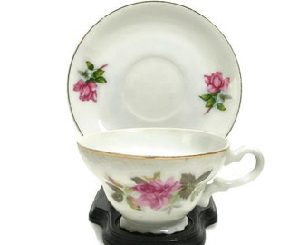 Pink Rose Tea Cup and Saucer