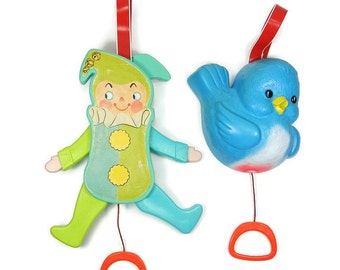 Crib Toys Jolly Jumping Jack & Blue Bird Music Box by Fisher Price Vintage Nursery Toys