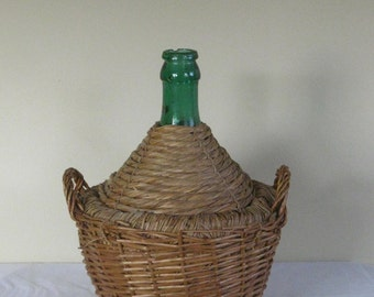 Large Vintage Demijohn, Green Glass Bottle in Woven Wicker Basket,  Made in Italy, Decorative French Country Decor