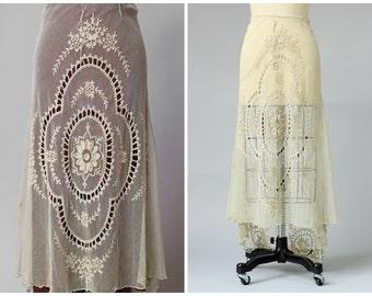 Rare Antique Edwardian Irish Tambour Lace Wedding Skirt