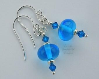 Cerulean blue earrings, blue lampwork earrings, crystal earrings, bright blue earrings, sky blue earrings, sterling silver, sea blue