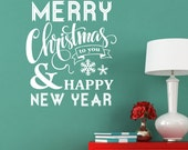Merry Christmas Happy New Year saying Decor Vinyl Wall Decal Graphic