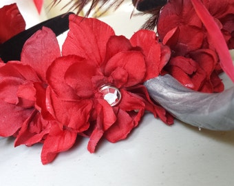 Adult / Child Fairy Flower Crown Fascinator Headband - Silver Horns, Red Flowers, Red Feathers, Cosplay, Costume, Faire, Wedding