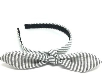 Preppy Seersucker Headband - Choose black, blue, yellow or red - Fabric Covered Headband - Blair Waldorf Headbands for Girls & Adults