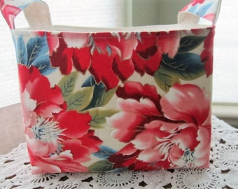 Fabric Organizer Storage Basket Bin Container  - Shabby Roses Red