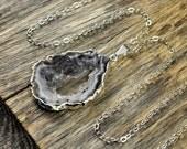 SALE - Geode Necklace, Geode Pendant, Geode Slice Necklace, Geode Slice Pendant, Geode Silver Necklace, Sliver Pendant, Sterling Silver C...