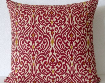 Crimson red damask pillow cover -  Waverly Srilanka Ikat Harvest - red damask throw pillow cover