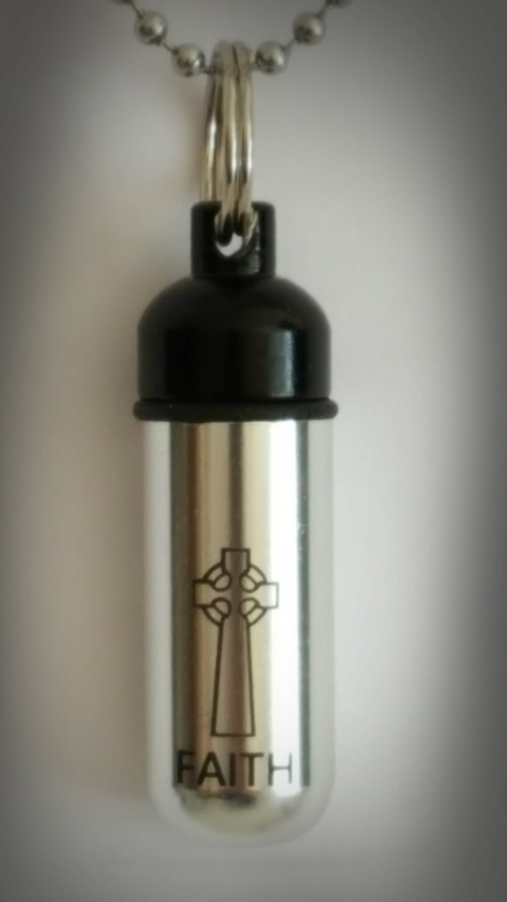"Engraved ""Faith"" with Celtic Cross & Black Cap - Cremation Urn Keychain - Custom Hand Assembled.... with Velvet Pouch and Fill Kit"
