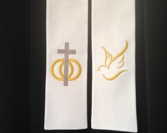 Wedding Officiant Clergy Stole in Silver & Gold