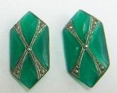 15% OFF SALE Art Deco Glass Cabochon Faceted Rare Vintage Jade Markasite Stones  2 pcs S-423