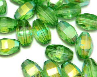 12 pcs Glass Beads Peridot Ab 12x6 mm Faceted Czech Fire polished B-136
