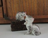 Pair of Gray Striped Tabby Cat Ceramic Figurines - Vintage Cat Collectibles