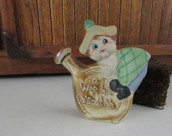 Small Ceramic Figural Scotch Jug Liquor Flask Decanter with Climbing Scotsman – Wee Bit of Scotch - Vintage Barware