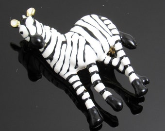 Zebra Brooch Figural Jewelry Enamel Animal