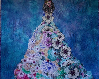 MarveLes SHALOM Collage QUILT Wall Hanging Blue Purple Prom Girl Wedding Dress
