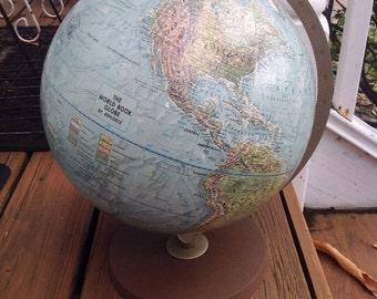 Vintage standard size Replogle World Book globe.