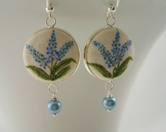 Blue Hyacinth Flower Earrings, Hand painted Button Dangle Ear wires, Fiber Art Wedding Jewelry, Something Blue, FFT original