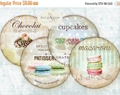SALE 30% OFF - French Macarons and Cupcakes Circles Micro slides - 2.5 inches - digital collage sheet - pocket mirrors, tags, scrapbooking,