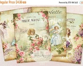 30% OFF SALE Shabby Spring ATC Cards - Collage Aceo cards - Digital Collage Tags - Digital Download Sheet - Shabby chic cards - Victorian co