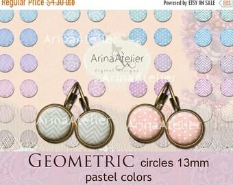 SALE 30% OFF - Digital collage Circles Geometric MIX 13 mm - Digital Collage Sheet for 12 mm Earrings - Bottlecaps - Pendants - Magnets - Bu