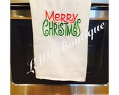 Merry Christmas kitchen towel Embroidered Flour Sack Towels - Embroidered kitchen towels - Tea towel - Personalize Merry Christmas towels