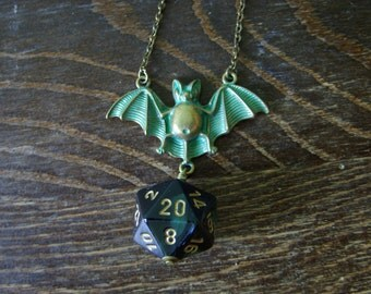 Halloween pendant bat dice necklace D20 pendant dungeons and dragons rpg tabletop dice jewelry halloween necklace d20 pathfinder jewelry