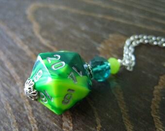 D20 dice green yellow D20 dice pendant dungeons and dragons pendant dice pendant D20 pendant dice jewelry geek pathfinder D20 dice