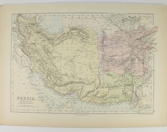 Antique Map Middle East, Persia Map Afghanistan, Beloochistan Map, Persian Gulf Map, Man Cave Decor Gift for Him, 1884 A & C Black Map