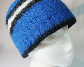 Felted wool hat - blue, white, and black