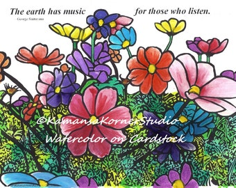 Cosmos Flower Field in a 2 Coloring Page set with Inspiring Quote