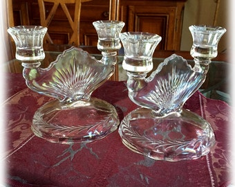 Pair Vintage Jeannette 1774 Laurel Sunburst Herringbone Crystal Candlesticks, Depression Glass, CANDLE HOLDER SET