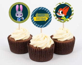 Zootopia Party Cupcake Toppers and Wrappers