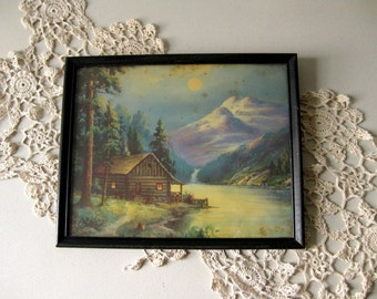 Vintage color lithograph cabin and mountain scene Wood framed lithograph print