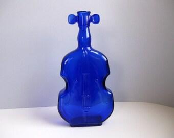 Vintage glass violin vase Cobalt blue violin vase