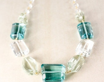 MOTHERS DAY SALE Crystal Quartz Tumbled Stone Necklace – Teal Quartz and Green Amethyst