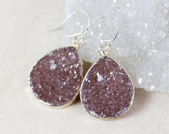 ON SALE Maroon Teardrop Druzy Earrings – Choose Your Druzy – Sterling Silver