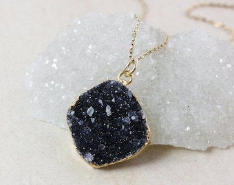 50% OFF Black Druzy Pendant Necklace – Choose Your Druzy – Organic Round/Oval Cut