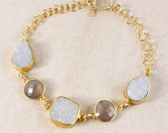 Soft Grey Druzy and Chalcedony Bracelet – 14K Gold Filled – Choose Your Gemstones