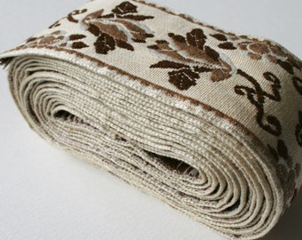 Vintage Upholstery Trim Brown and Cream Floral Design