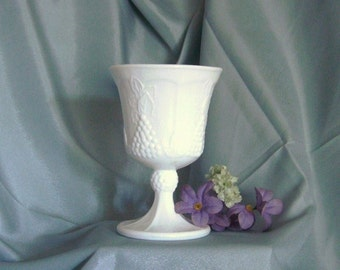 Colony Harvest Milk Glass Grapes and Leaf Water Goblet by Indiana Glass
